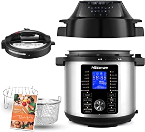 6 Quart 17-in-1 Pressure Cooker Air Fryer ,Programmable Pressure Cooker-Two detachable pressure cooker lids, Broil, Dehydrate, Slow Cook, Air Fryer, and More,Warmer & Sterilizer Stainless Steel/Black.