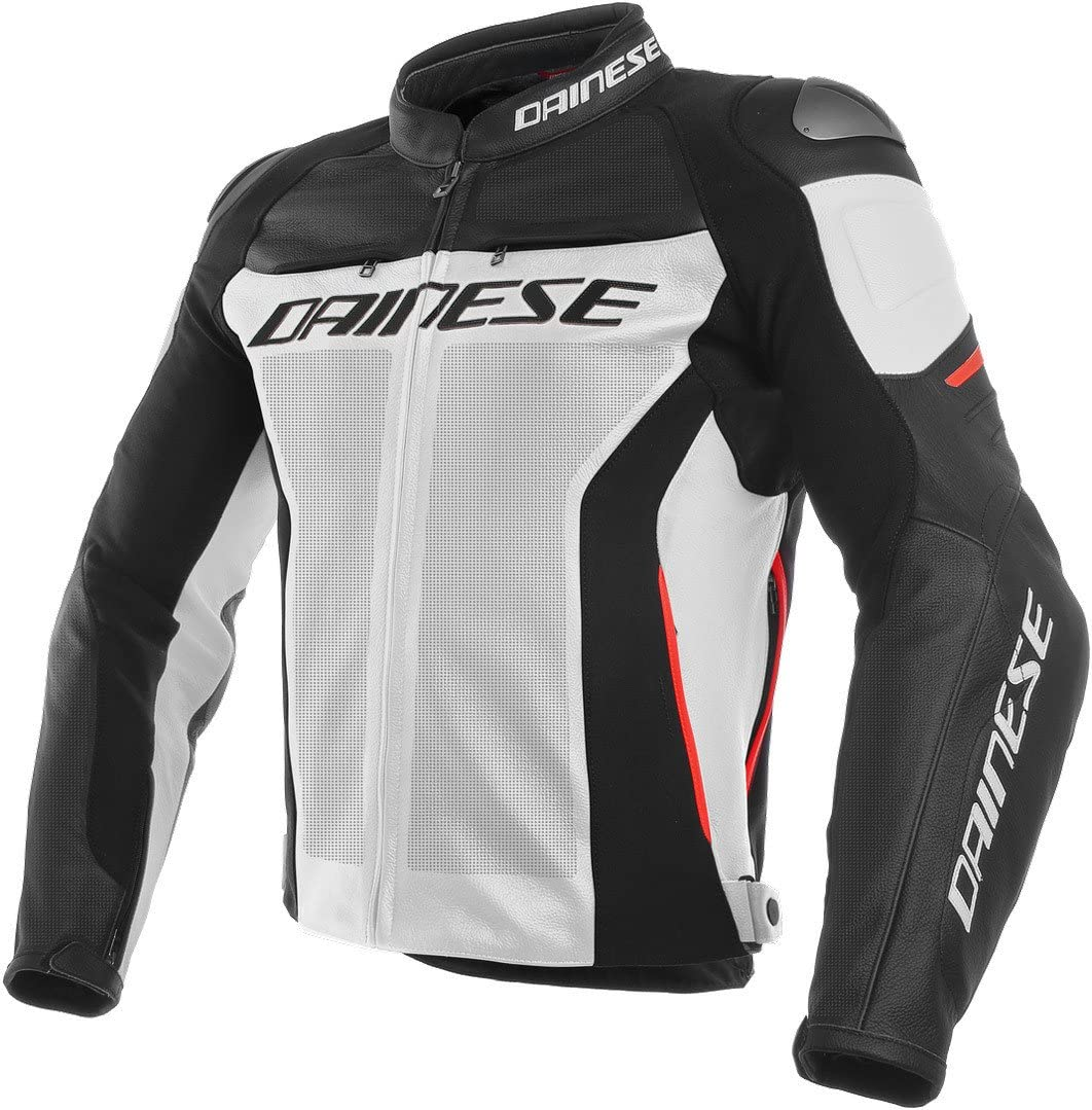 Dainese Men's Racing Popularity 3 Fresno Mall Perf. Leather Jacket 58 Black White Red