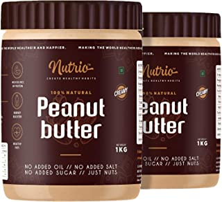Nutrio Natural Peanut Butter Creamy 2KG (Organic   Unsweetened   Pre Workout Supplements   Weight Loss/Gainer) (2KG (1+1 KG))