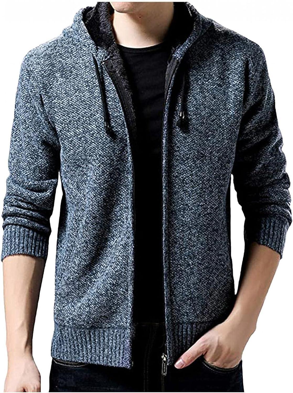 Men's Hooded Sweater Jackets Open Front Cable Knitted Cardigan Zipper Hoodies Outwear Caasual Slim Fit Fleece Overcoat