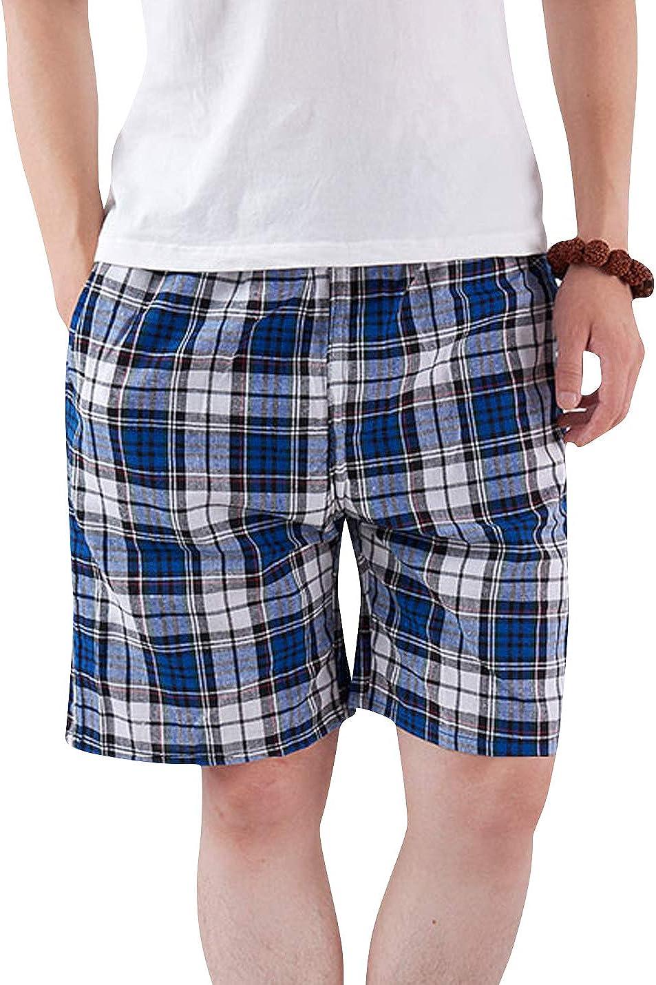 ZGZZ7 Men's Lightweight Casual Pajama Short Checkered Lounge Sleepwear Pjs Nightwear Shorts