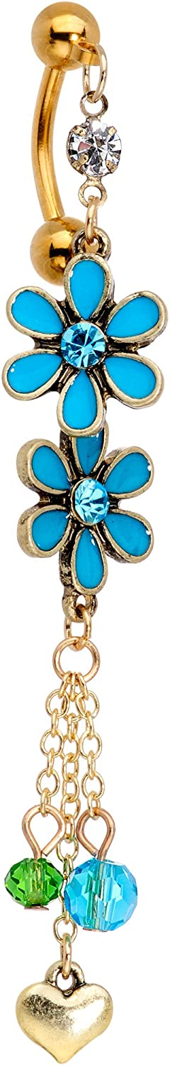 Body Candy 14G 316L Gold PVD Steel Navel Ring Piercing Flower Top Mount Dangle Belly Button Ring