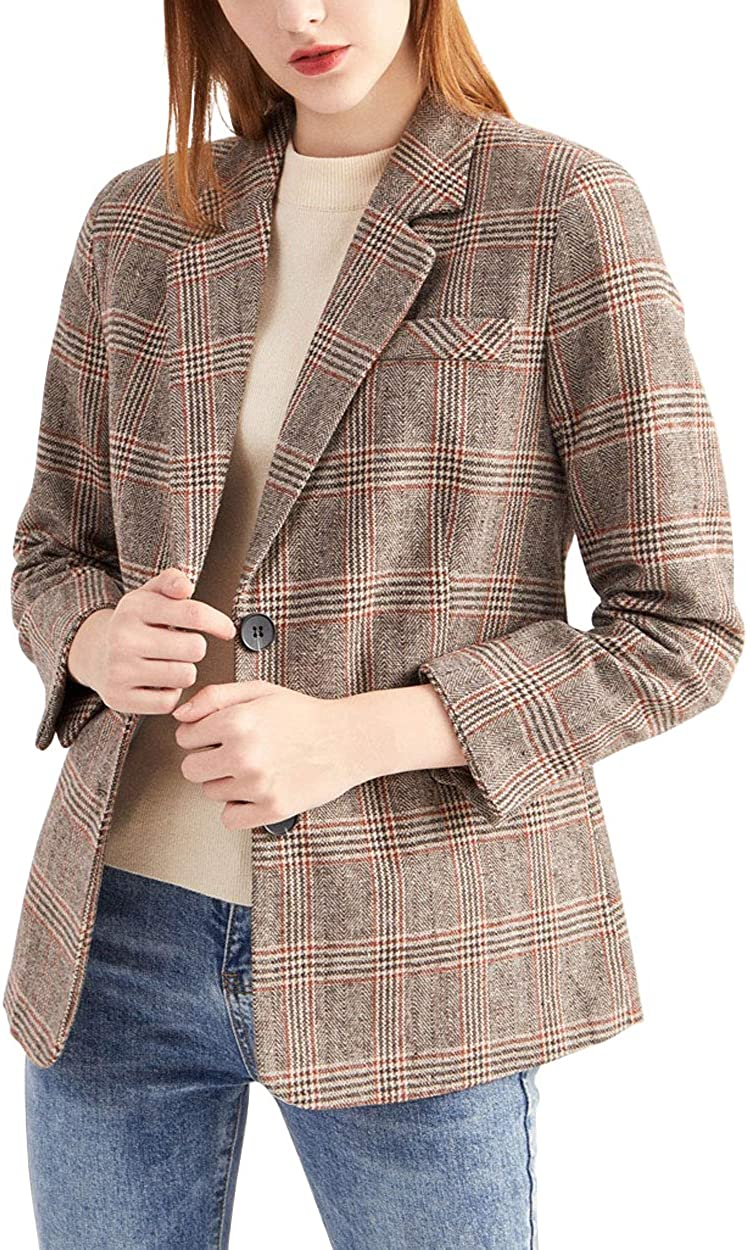 ebossy Women's Notch Brand new Lapel 2 Blazer Hounds Save money Button Boyfriend Suit