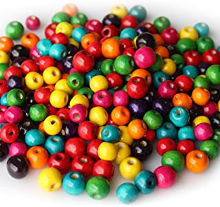 400 PCS Assorted Color Round Wood Beads Wooden Spacer Beads for DIY Jewelry Making, 2 Sizes, 10mm and 12mm