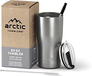 Arctic Tumblers Stainless Steel Camping & Travel Tumbler with Splash Proof Lid and Straw, Double Wall Vacuum Insulated, Pr...