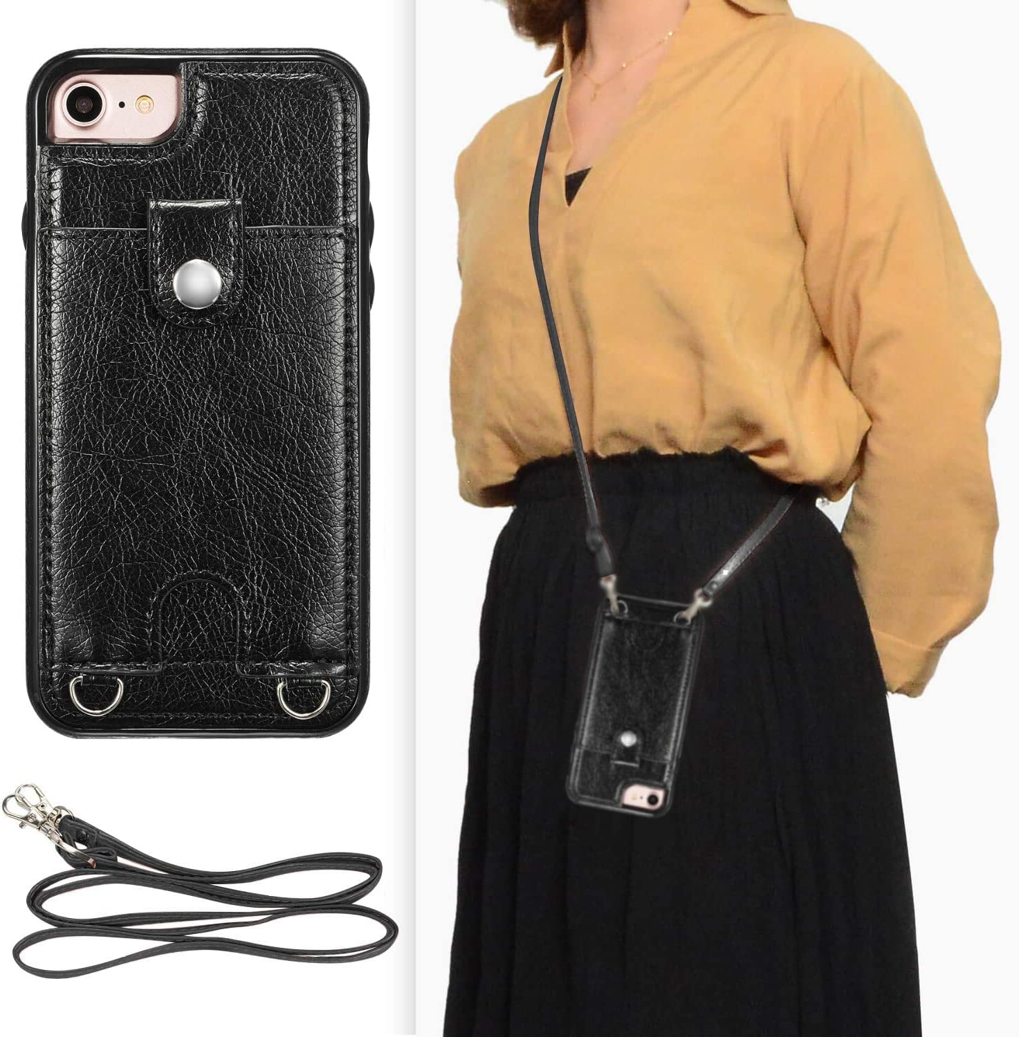 DEFBSC iPhone 7 Plus iPhone 8 Plus Crossbody Wallet Case,Premium Leather Case with Detachable Adjustable Crossbody Strap and Credit Card Slots for iPhone 7 Plus/8 Plus 5.5 Inch-Black