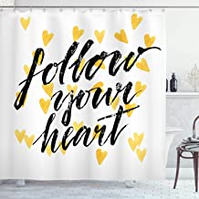 Ambesonne Quote Decor Shower Curtain by, Follow Your Heart Motivational Encouragement Typography Love Lifestyle Image, Fabric Bathroom Decor Set with Hooks, 75 Inches Long, Yellow Black