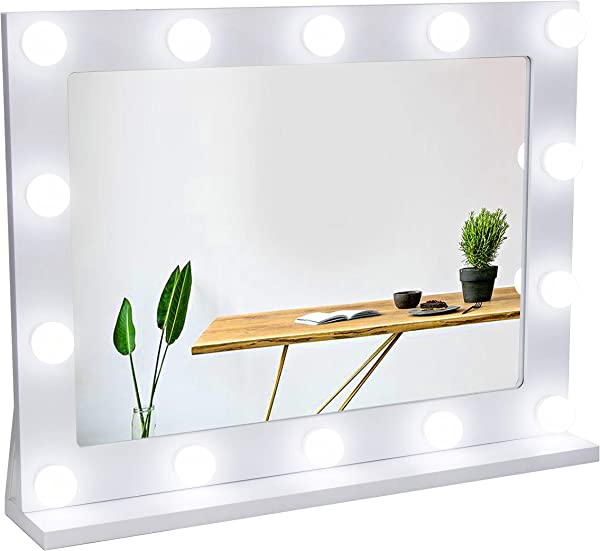 Waneway Vanity Mirror With Lights Hollywood Lighted Makeup Mirror With 14 Dimmable LED Bulbs For Dressing Room Bedroom Tabletop Or Wall Mounted Slim Wooden Frame Design White