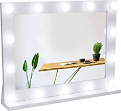 Waneway Vanity Mirror with Lights, Hollywood Lighted Makeup Mirror with 14 Dimmable LED Bulbs for Dressing Room & Bedroom, Tabletop or Wall-Mounted, Slim Wooden Frame Design, White