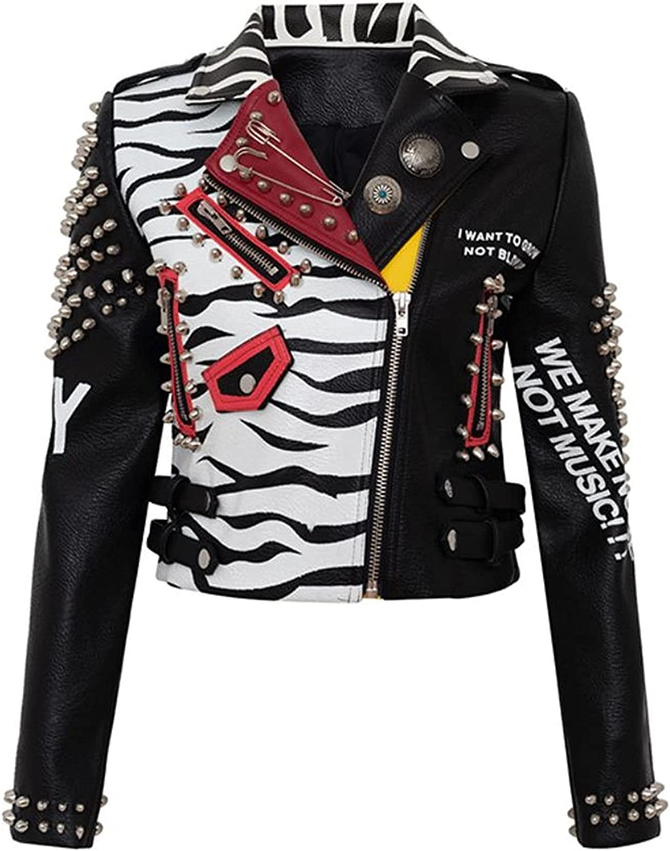 Rivet Beading Pu Leather Jacket Women Graffiti Colorful Print Biker Jackets and Coats Streetwear Jacket (Color : Picture 8, Size : 3XL.)