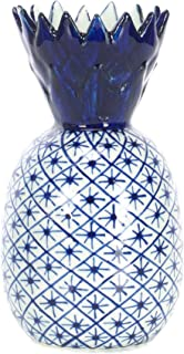 Sea Island Small Pineapple Narrow Neck Glossy Blue and White 6 inch Porcelain Ceramic Vase