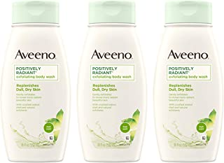Aveeno Positively Radiant Exfoliating Body Wash with Moisture-Rich Soy Complex & Crushed Walnut Shell for Dry, Dull Skin, ...