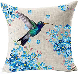 Best Gift Beautiful Ink Painting Hummingbird and Flowers Cotton Linen Throw Pillow Case Personalized Cushion Cover New Home Office Decorative Square 18 X 18 Inches (13)