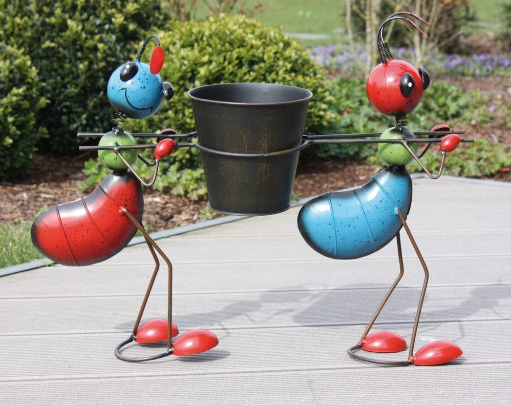 Jardín Figura 2 hormigas con macetero metal Figura Multicolor – apoyado: Amazon.es: Jardín