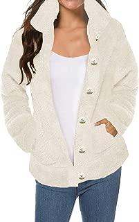 SAUKOLE Women's Oversized Coat Long Sleeve Lapel Faux Shearling Shaggy Winter Jacket