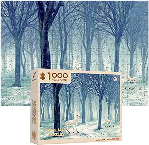 high quality OPTIMISTIC Wooden Puzzle 1000 Piece - Elk in The Snow Landscape Puzzles outlet online sale - DIY Puzzle Game Collection Artwork 2021 for Adults Teens - 1000 Piece Jigsaw Puzzles, 2MM online