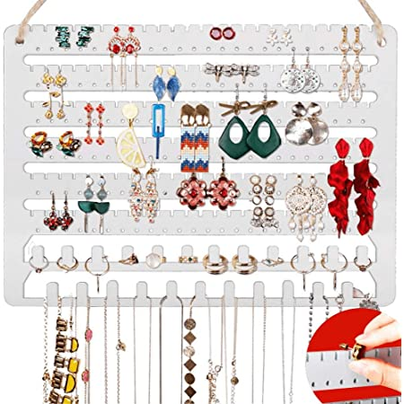 Wooden Jewelry Holder Display with Removable Bracelet Rod and Hook for Necklace Mymazn Wood Wall Mounted Jewelry Organizer Rustic Stud Earring Hanger for Women Girls Dark Brown