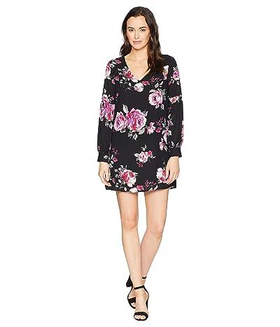 American Rose Hazel V-Neck Floral Shift Dress (Black) Women