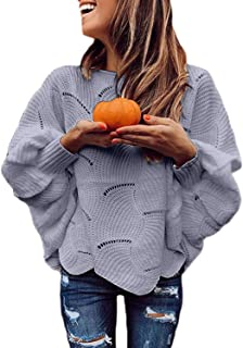 Womens Batwing Long Sleeve Boat Neck Knit Oversized Casual Pullover Sweaters Top