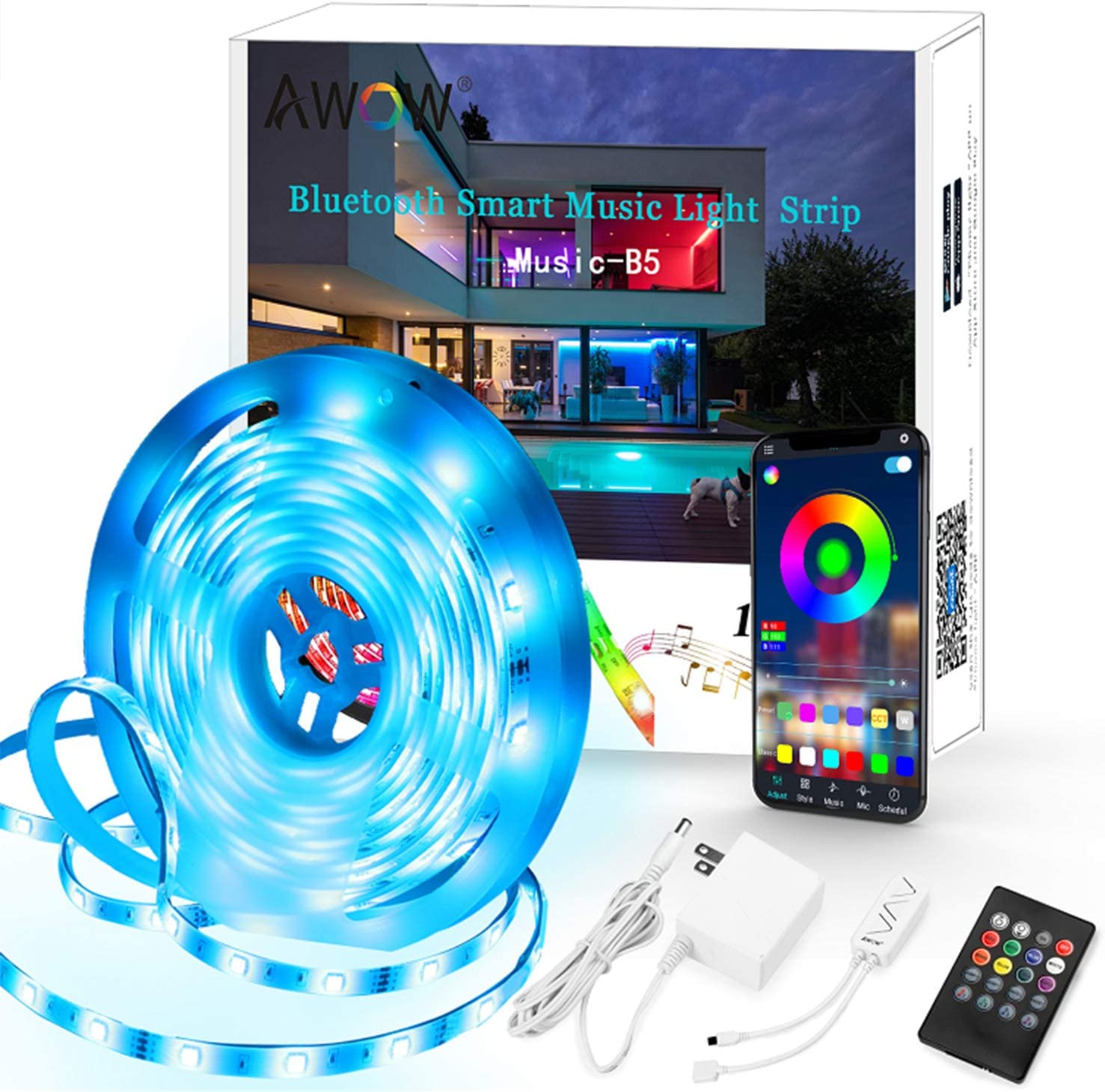 LED Strip Lights Sync to Music16.4ft Bluetooth with Remote Flexible Color Changing RGB LED Light Strips Kit for Home, Bedroom, Kitchen,DIY Decoration