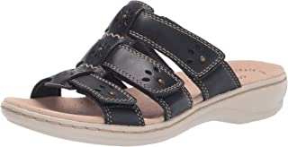 Clarks womens Leisa Spring,Navy Leather/ Ivory Combi,9.5 narrow