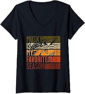 Womens Distressed Vintage Musky Fishing Is My Favorite Season Gift V-Neck T-Shirt