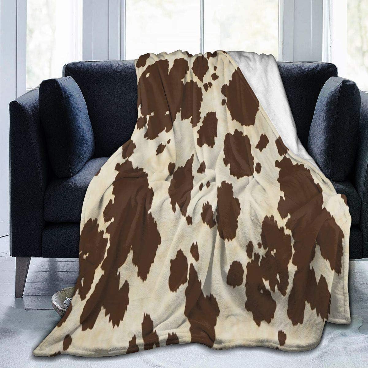 Brown Cow Print 人気ブランド多数対象 Fleece Throw Blanket Warm 激安挑戦中 Soft Fuzzy Cozy Super