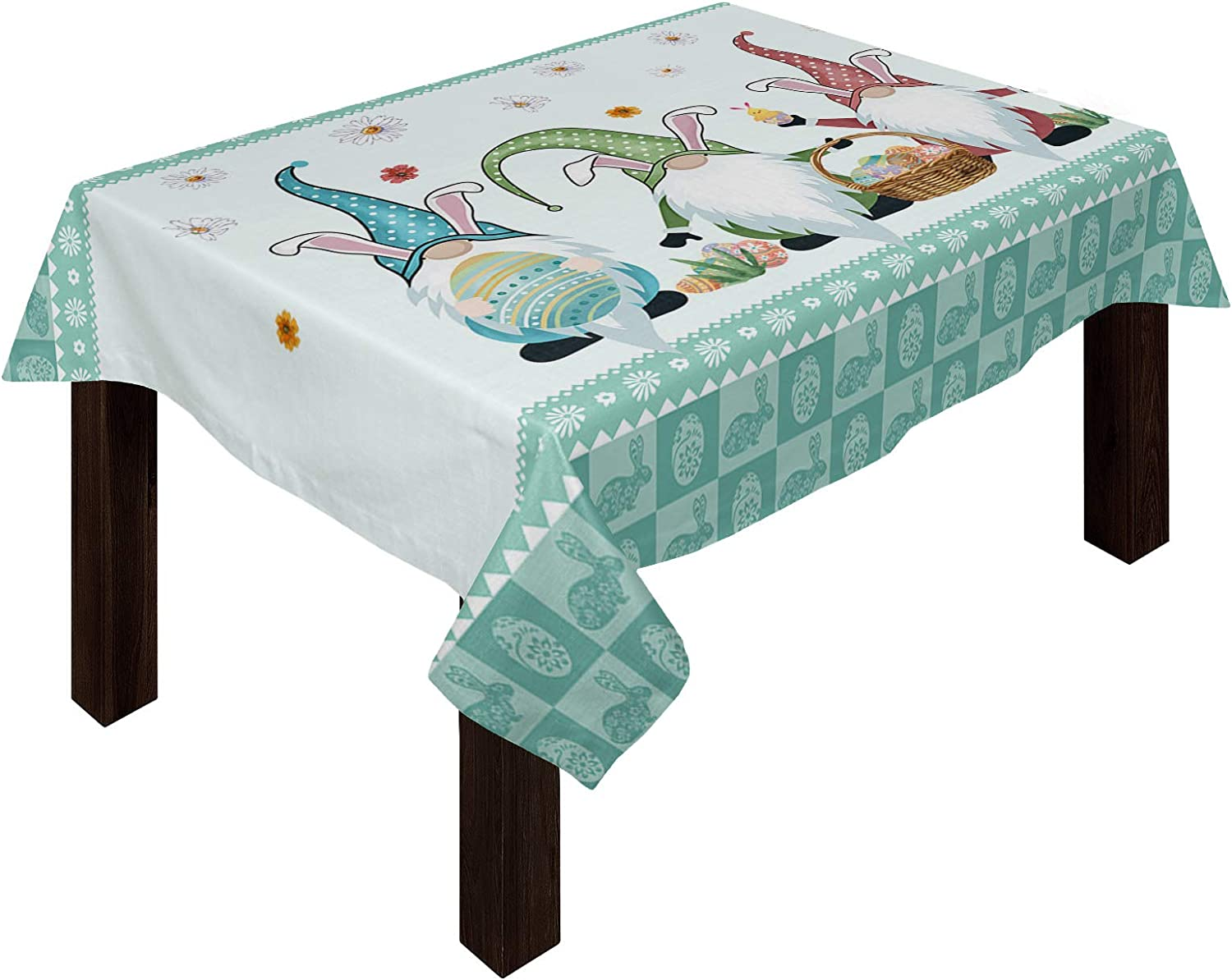 Yun 正規認証品 新規格 Nist Happy Easter Bunny Gnomes Table 爆買い送料無料 Cloths Cotton Eggs and