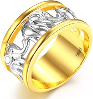 LILILEO Jewelry 11mm Gold And Silver Alloy Hollow Elephant Ring For Women's Wedding Rings