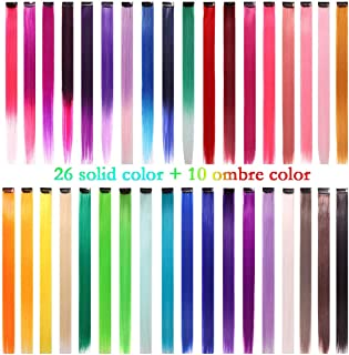 36 Packs Party Highlights Clip in Hair Extensions Streak Synthetic Hairpieces Colored Straight Hairpieces for Girls and Dolls (36 Colors Set)
