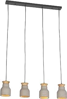QAZQA Lámpara colgante industrial de hormigón - Hormigo Goblet 4 Piedra/cemento/Madera/Acero Redonda/Alargada Adecuado para LED Max. 4 x 50 Watt