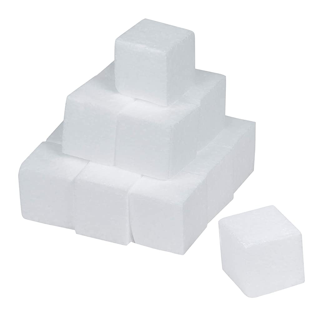 Genie Crafts 15-Piece Polystyrene Blank Craft Foam Blocks for Art Projects and Modeling, 2 x 2 x 2 Inches
