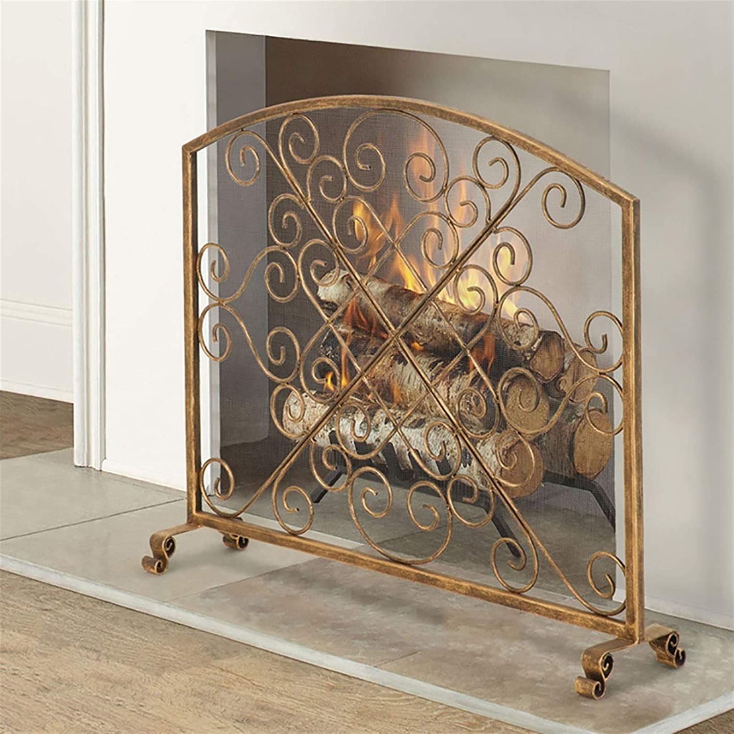 LLFF 33.1×38.6 Inch Luxury goods Single Panel Fireplace Max 66% OFF Iron Wrought Screen