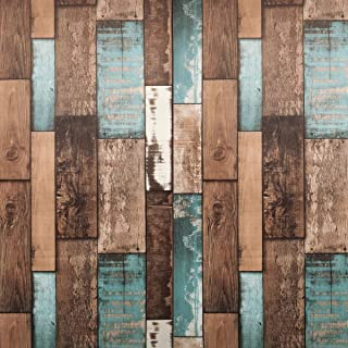 "Reclaimed Wood Wallpaper - Wood Peel and Stick Wallpaper - Contact Paper or Wall paper - Removable Wallpaper - Plank Vintage Barnwood Distressed Wallpaper - 1.48 ft x 9.83 ft (17.71"" Wide x 118"" Long)"
