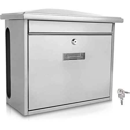 SereneLife White Modern Wall Mount Lockable Mailbox-Outdoor Galvanized Metal Key Large Capacity-Commercial Rural Home Decorative & Office Business Parcel Box Packages Drop Slot Secure Lock SLMAB08