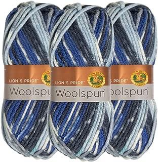 Lion Brand (3 Pack) Woolspun Acrylic & Wool Soft Ocean Print Blue Gray White Yarn for Knitting Crocheting Bulky #5