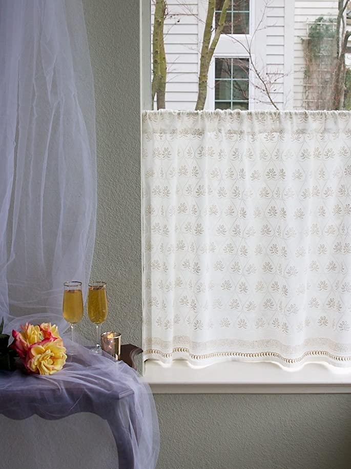 Saffron Marigold Bridal Veil Tier Curtains | Semi Sheer Cotton Voile Light Airy Hand Printed White Gold | Elegant Ethereal Similar to Lace Cafe Curtain Window Treatment 46 x 24 nyphmgvm8106