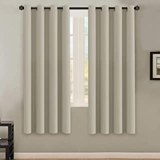 H.VERSAILTEX Solid Grommet Thermal Insulated Blackout Curtain Panels/Drapes,52Wx72L - Inch (Set of 2,Cream Pattern)