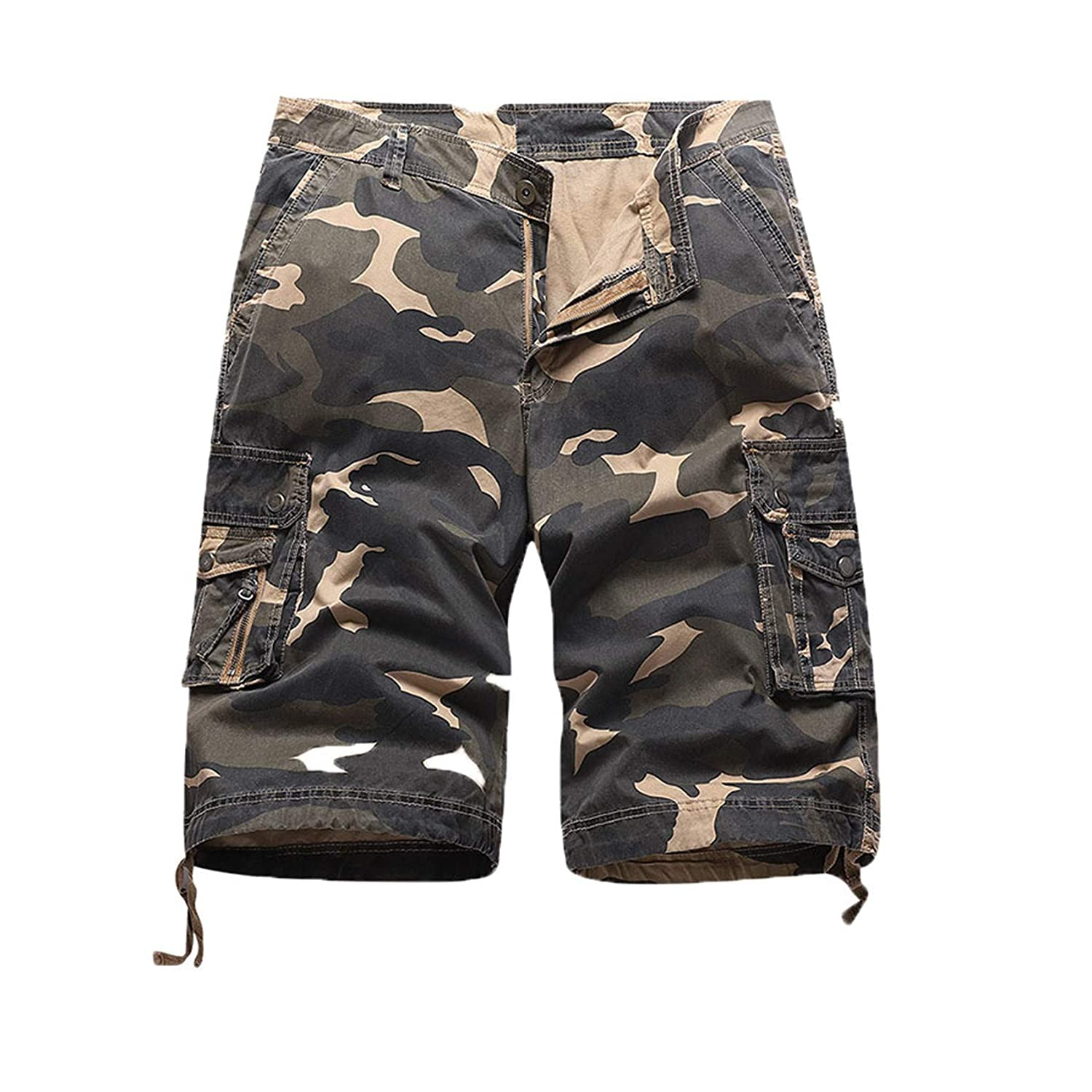 Mens Cargo Shorts Relaxed Fit Camouflage Camo Cargo Short Relaxed Fit Outdoor Summer Shorts with Multi-Pockets (Khaki Camouflage,30)