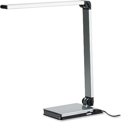 Lorell 13201 Smart Device Slot/USB Task Light Desk Lamp, Silver