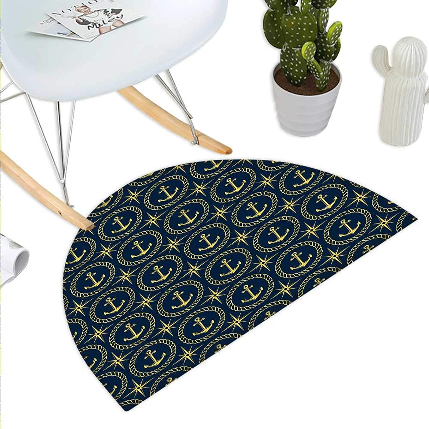 Anchor Semicircle Doormat Abstract Cruise Ship Pattern with Windpink Nautical Rope and Anchor Travel Trip Halfmoon doormats H 43.3  xD 64.9  Indigo Yellow