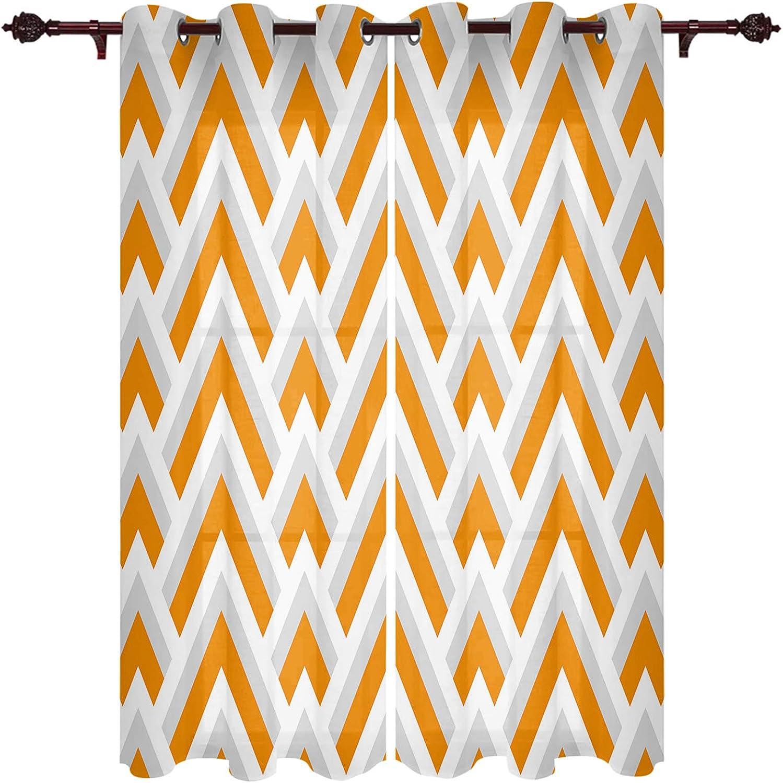 Window Over item handling ☆ Treatment Sheer Curtains Geometric White Dedication Orange Stripes 2