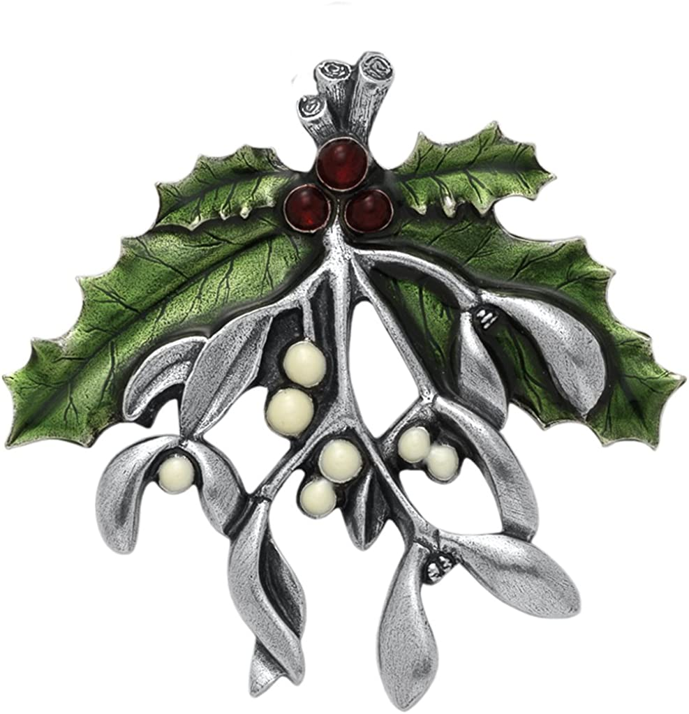 """Danforth Mistletoe And Holly Brooch Pin For Women – Handcrafted Pewter Christmas Jewelry For Women – 2 3/8"""" Wide, Made In USA"""