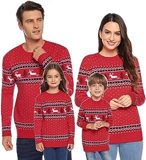 comprar comparacion Akalnny Suéteres de Navidad Punto con Cuello Redondo Jersey Casual Unisex de Manga Larga para la Familia Hombres Mujeres N...