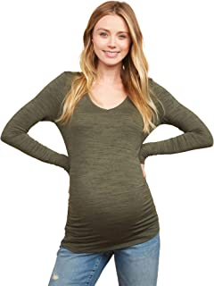 Women's Maternity Long Sleeve V-Neck Side Ruched Tee Shirt