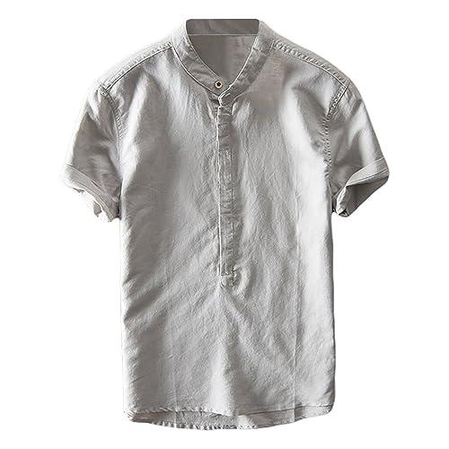 39a00ecfc6 Mens Cotton Linen Shirts Beach Short Sleeve Frog Button Up Tops Lightweight  Tees Plain Summer Mandarin