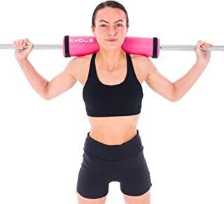 EXOUS BODYGEAR Barbell Pad Squat Bar Thick Foam Cushion - Protector for Neck & Shoulders - Fits Olympic Weight Lifting Bar - Fixing Straps for Non Slip Fit