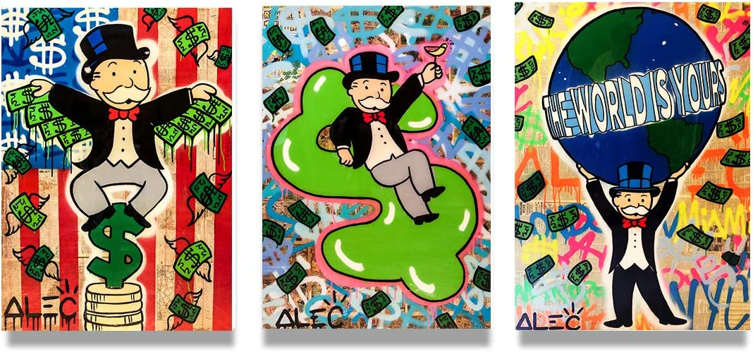 Free shipping New 3 Piece Wall Art Paintings Nippon regular agency Alec Room Living Picture Monopoly for