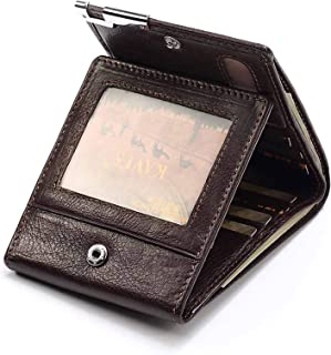 Gnzoe Leather trifold Wallet, Multi Card Case Wallet for Men Brown