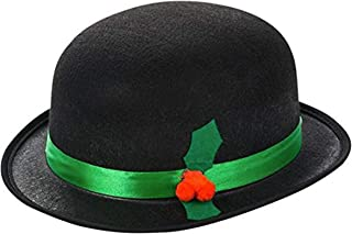 Holiday Bowler Style Christmas Caroler Hat with Ribbon and Holly